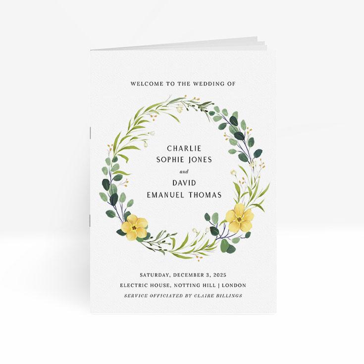 Affordable order of service for wedding