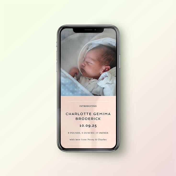 Birth announcement card for WhatsApp