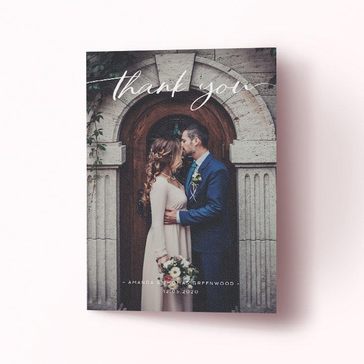 Classic photo wedding thank you card
