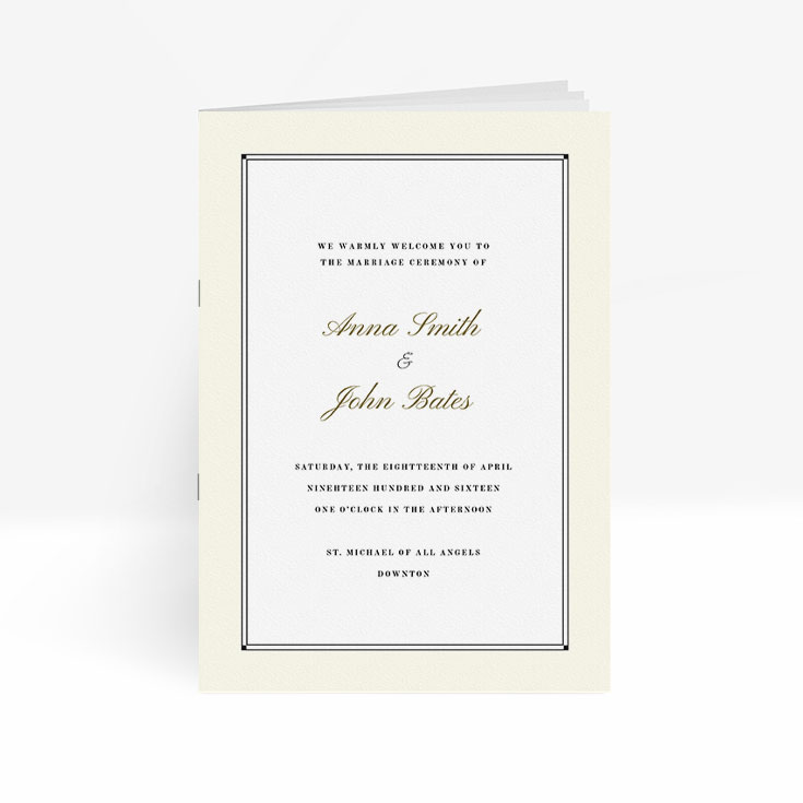 Classic wedding order of service with multiple pages