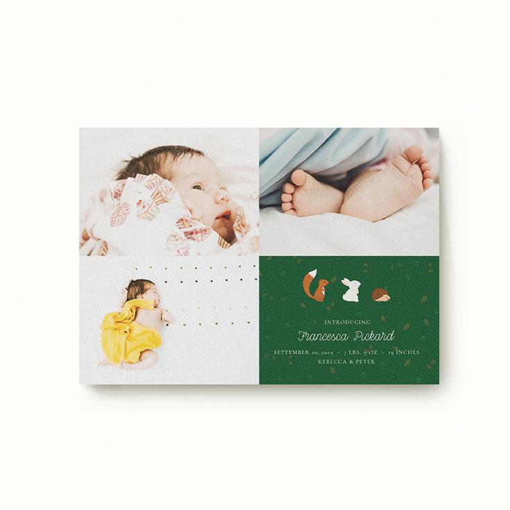 Cute birth announcement card