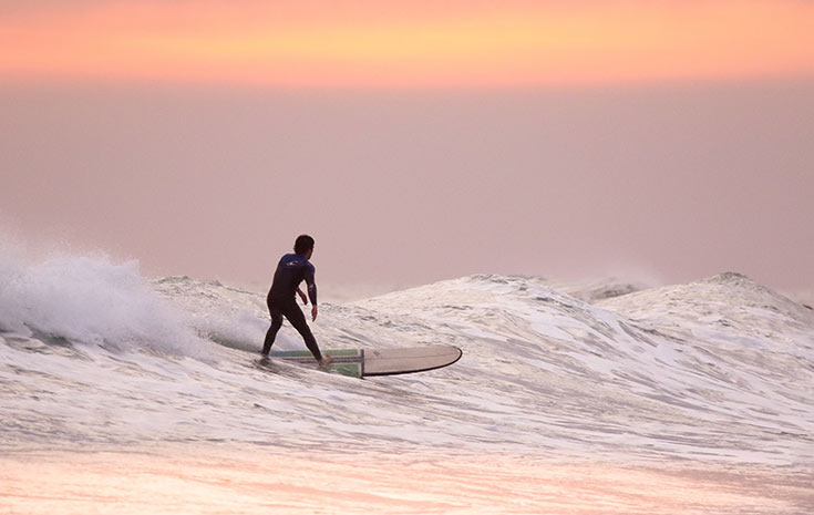 View of Hawaii surfer