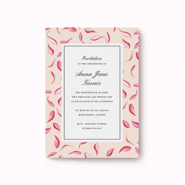 Floral christening invitation design