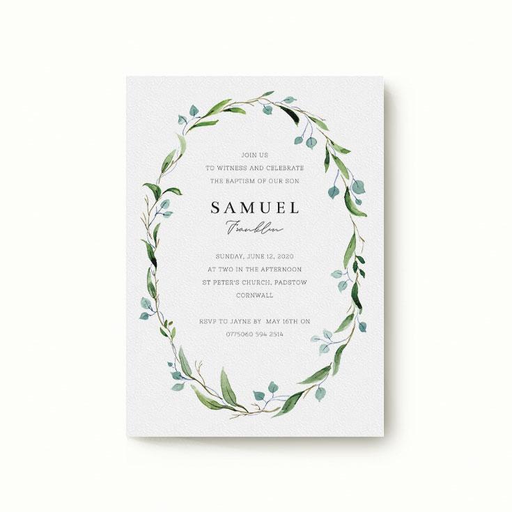 Floral christening invitation
