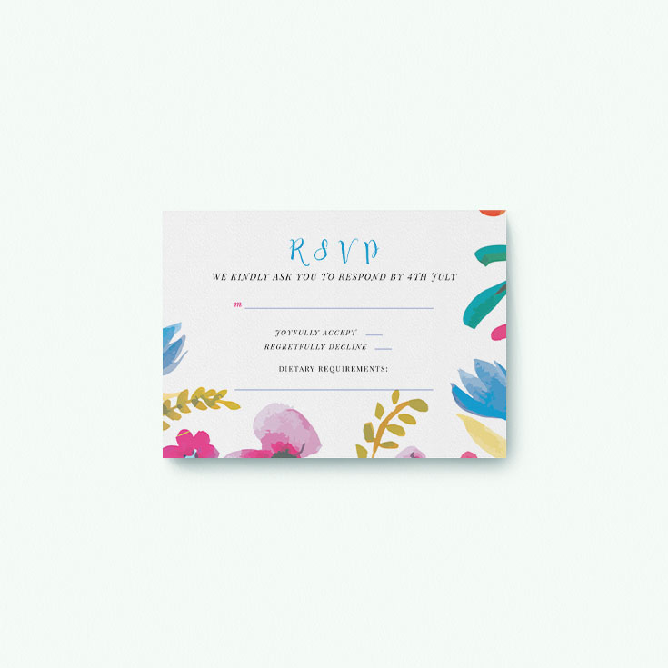Floral RSVP card for wedding