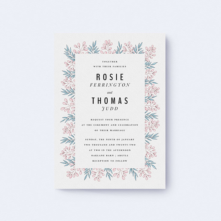 """Floral Wedding Invite Design called """"Blossom and Long Leaves"""""""