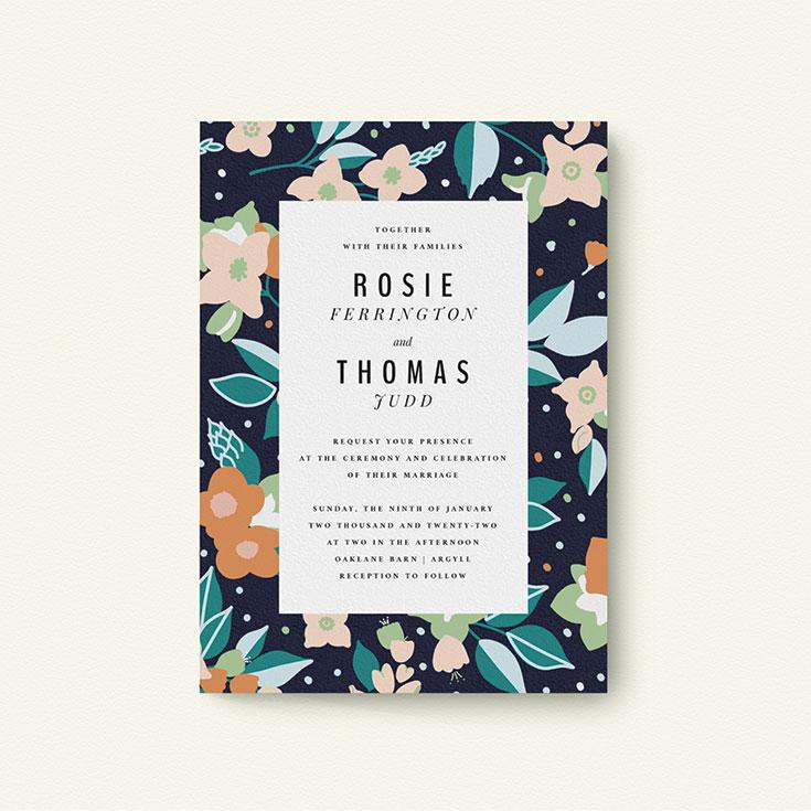 """Floral Wedding Invite Design called """"Dark Garden"""""""