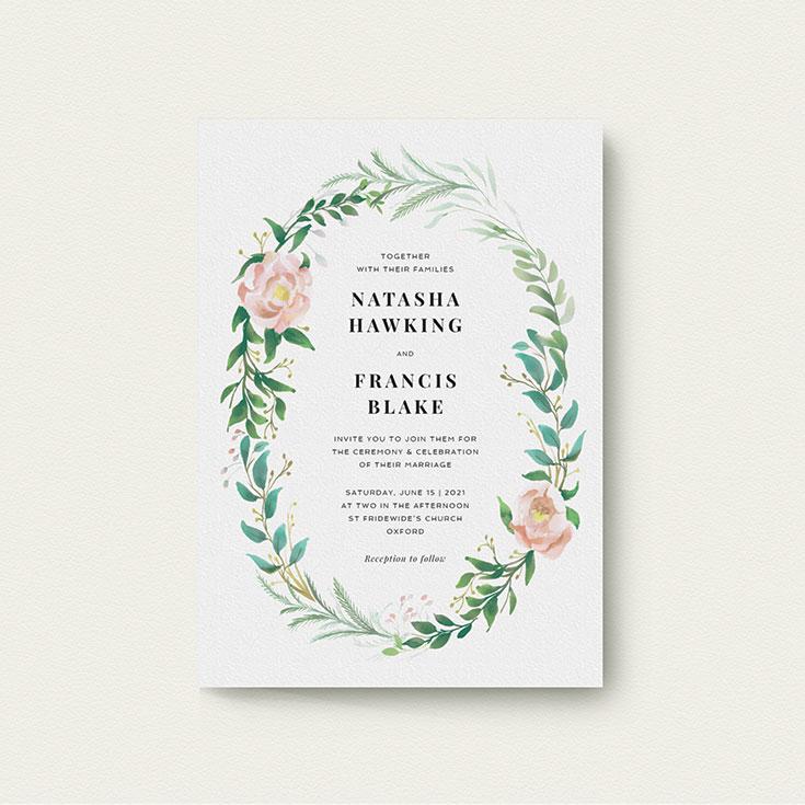 """Floral Wedding Invite Design called """"Summer Wreath Portrait"""""""
