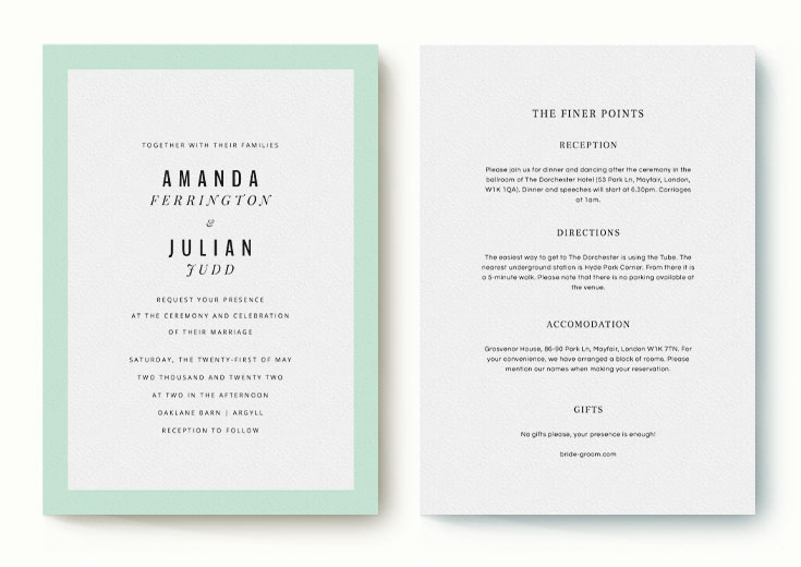 Matching wedding invite and info card