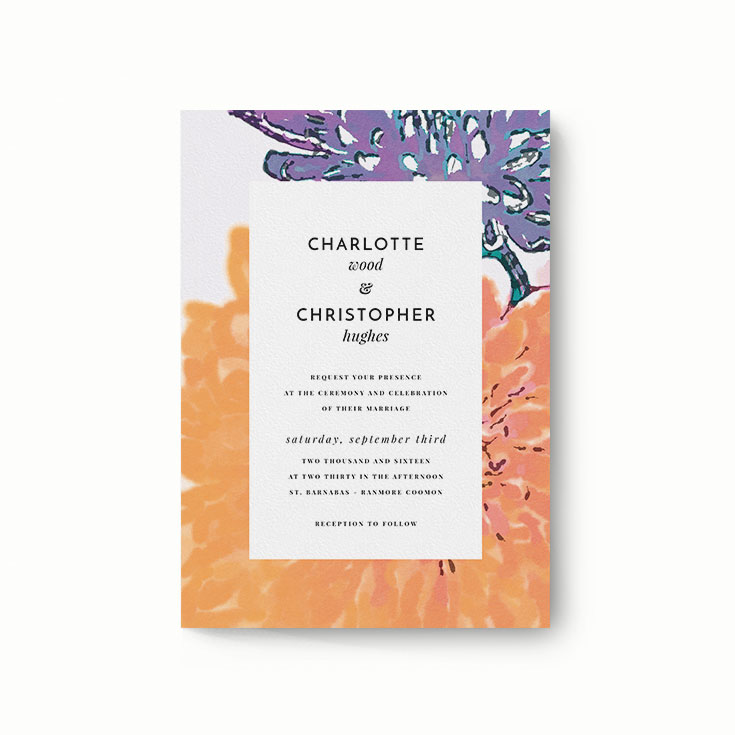 """Modern Wedding Invitation Design Called """"A delivery of spring"""""""
