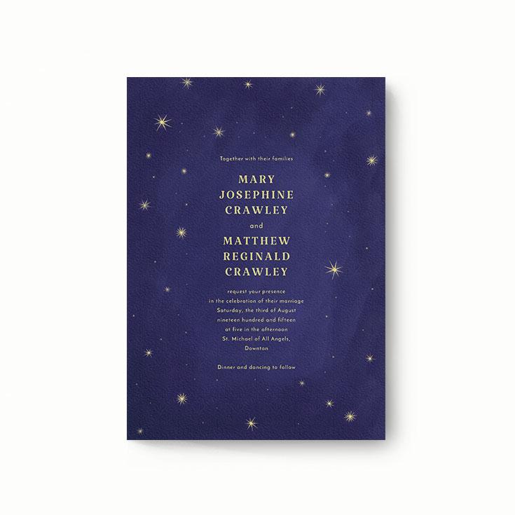 "Modern Wedding Invitation Design Called ""Sky at night"""