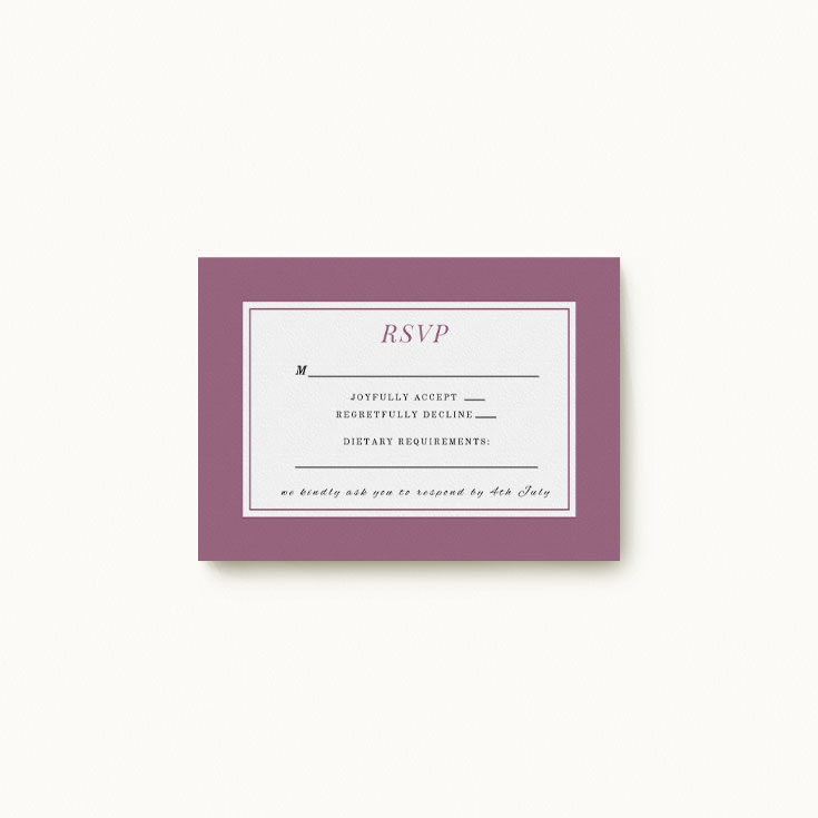 Purple RSVP card for wedding