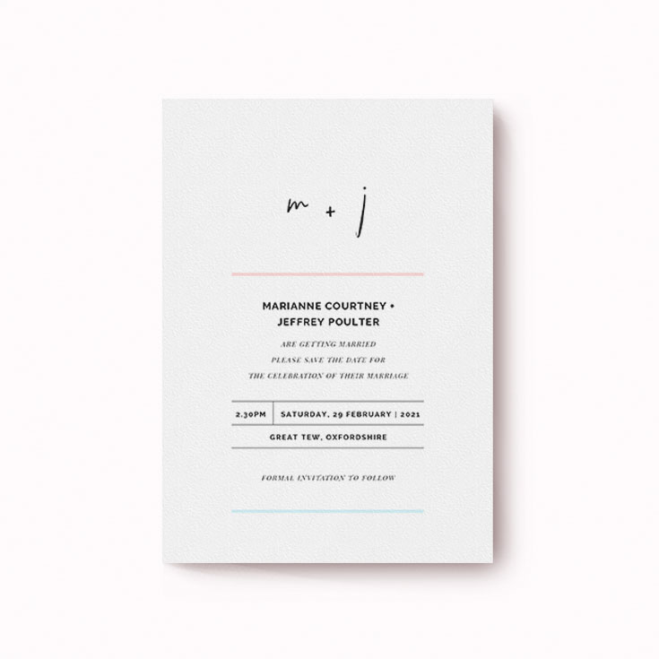 Simple and modern save the date card