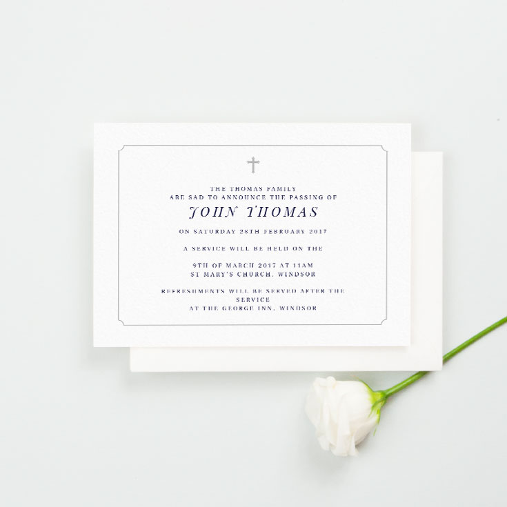 Simple funeral invitation card