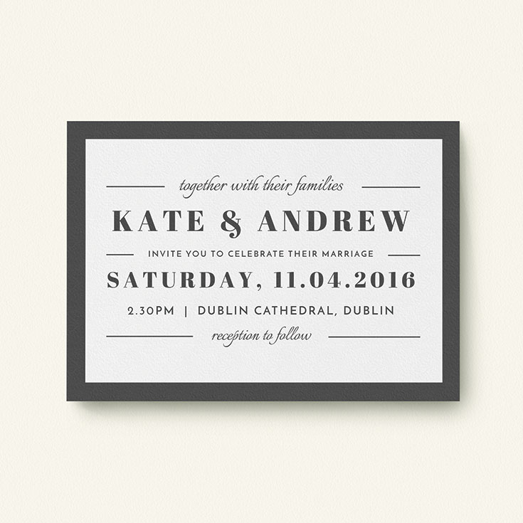 "Simple Wedding Invitation called ""Lines with a thick border"""