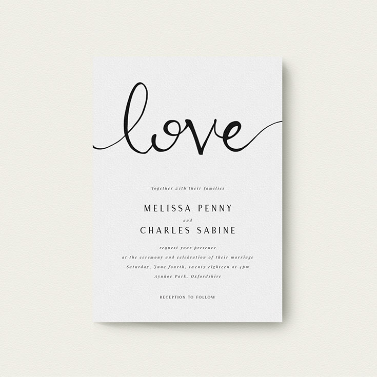 "Simple Wedding Invitation called ""Simply Love"""
