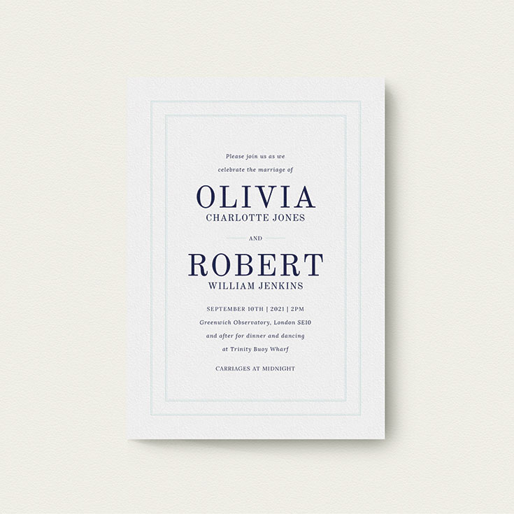 "Simple Wedding Invitation called ""Thick White and Blue"""