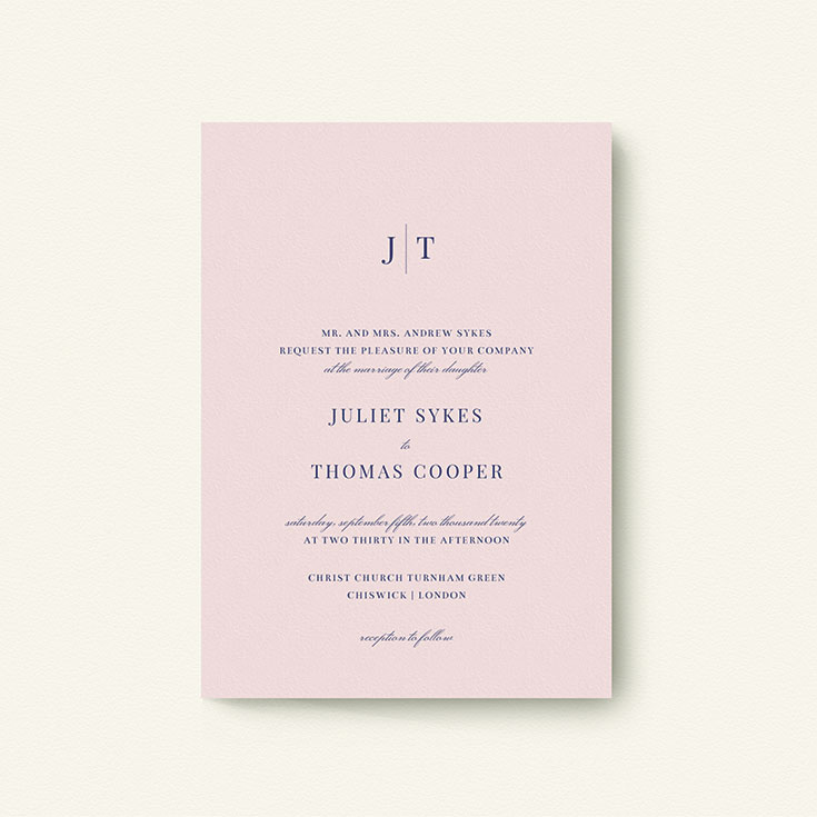 "Simple Wedding Invitation called ""Tradition in Pink"""