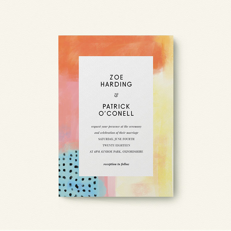 """Watercolour Wedding Invite called """"Abstract Colours"""""""