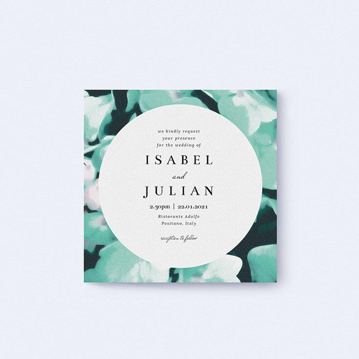 "Watercolour Wedding Invite called ""Mint Night Garden"""