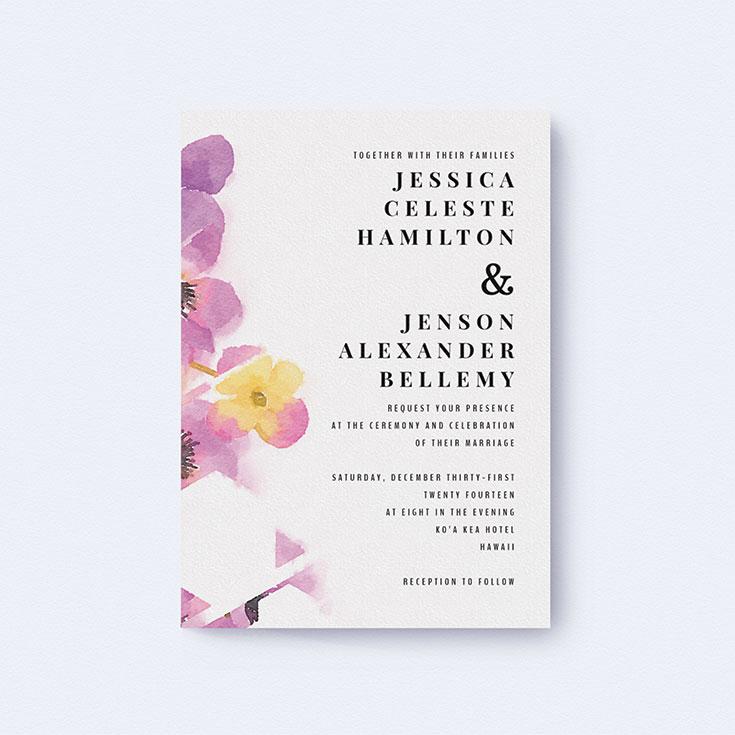 "Watercolour Wedding Invite called ""Modern bouquet"""