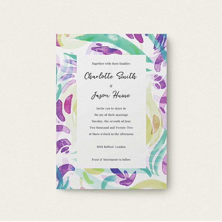 "Watercolour Wedding Invite called ""Neon Florals"""