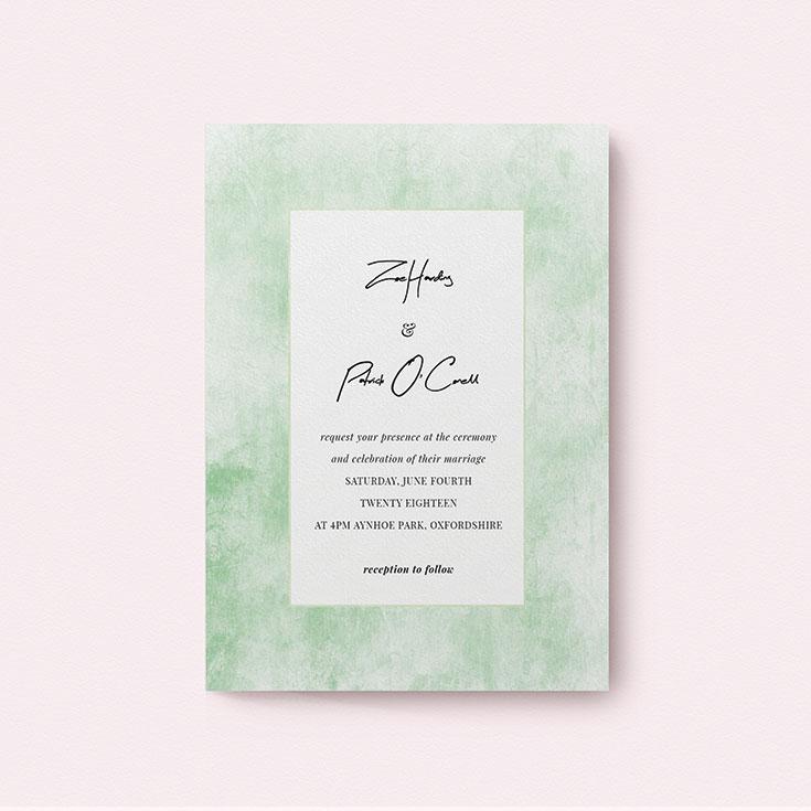 "Watercolour Wedding Invite called ""Rustic Green"""