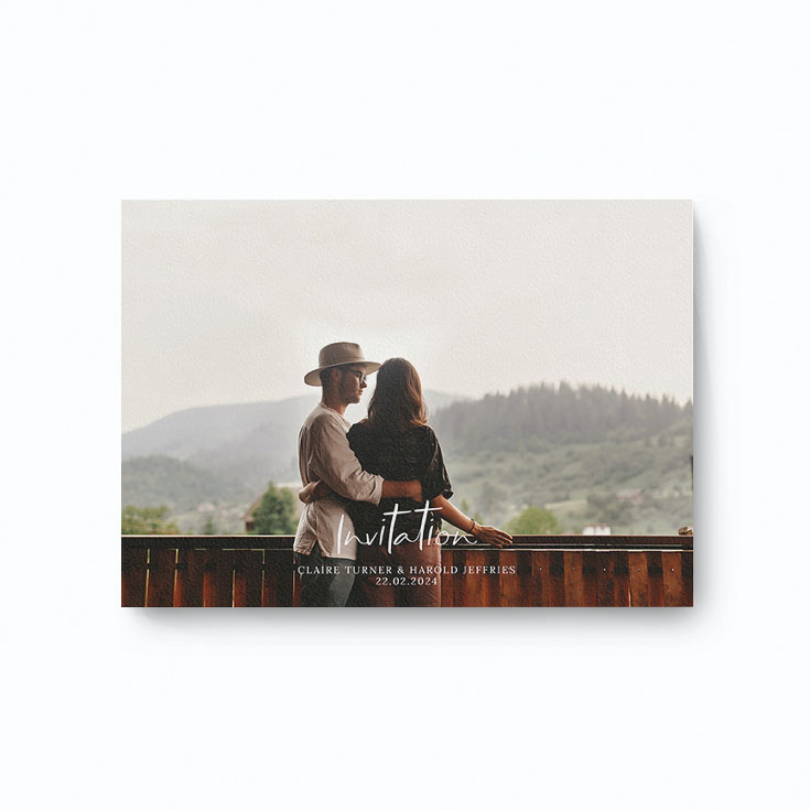 Wedding invitation with couple photo