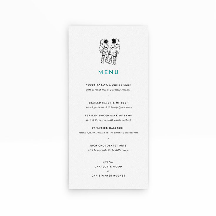 "Personalised Wedding Menu Card called ""One small step"""