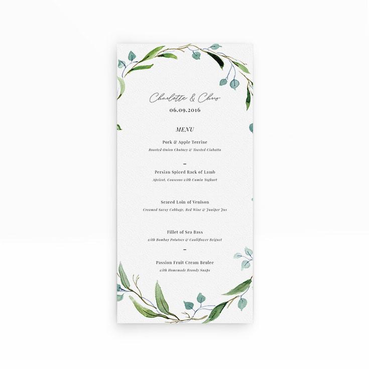 "Personalised Wedding Menu Card called ""Thin Watercolour Wreath"""