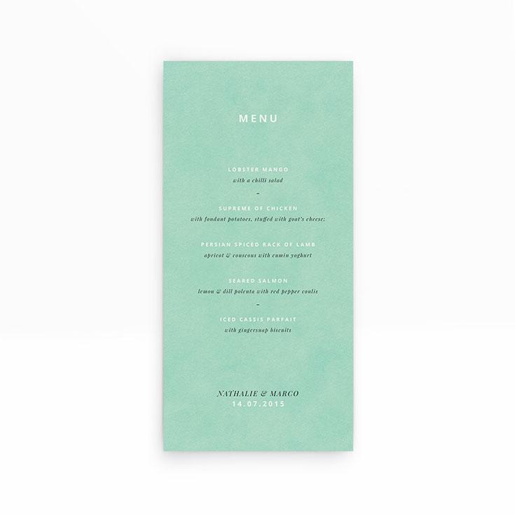 """Personalised Wedding Menu Card called """"Worn Green"""""""