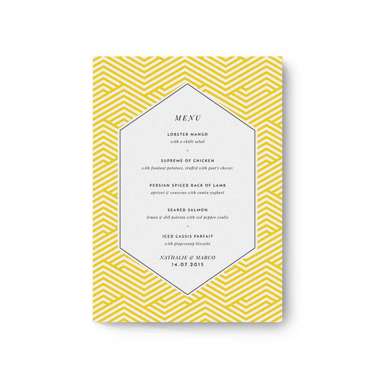 "Personalised Wedding Menu Card called ""Yellow lines"""