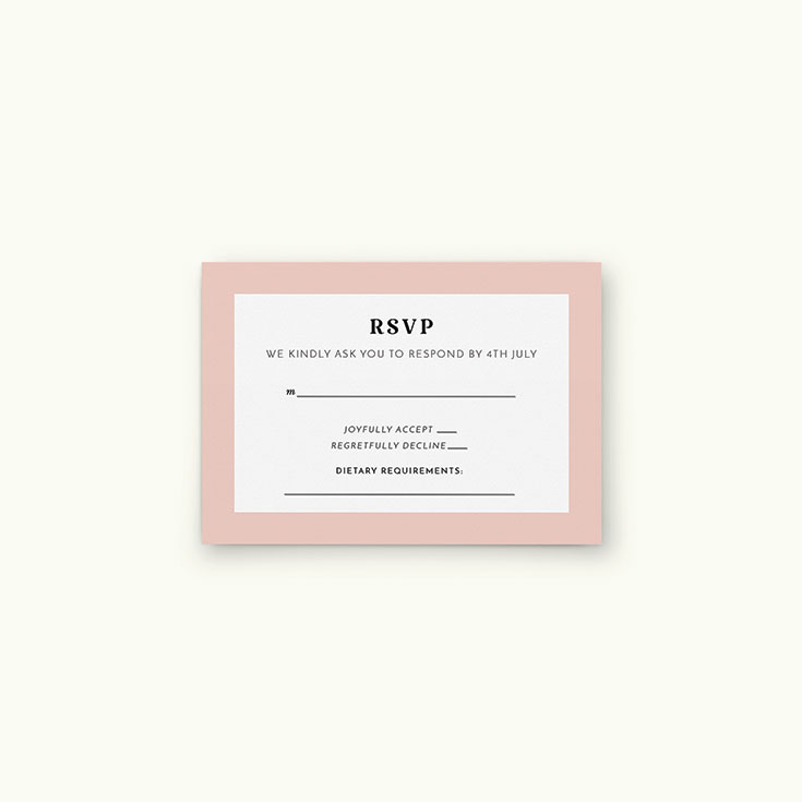 """Personalised Wedding RSVP Card called """"Lines with a thick border"""""""