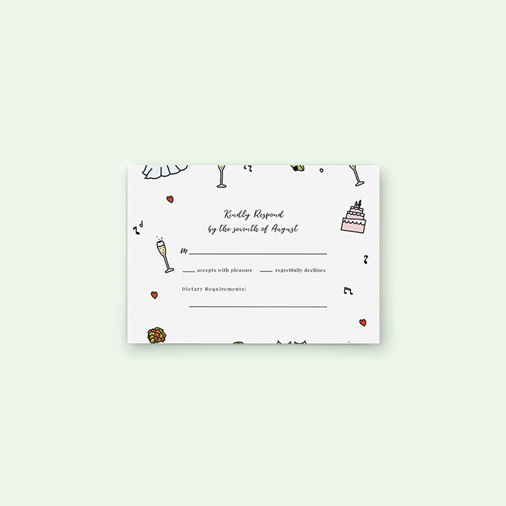 "Personalised Wedding RSVP Card called ""Matrimonial Doodles"""