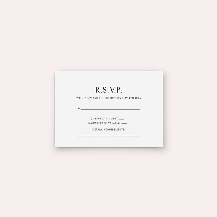 "Personalised Wedding RSVP Card called ""Simply Love"""