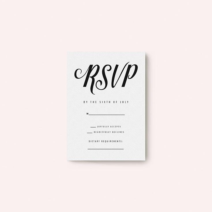 "Personalised Wedding RSVP Card called ""Slant Typography Black"""