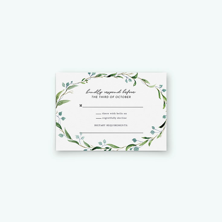 """Personalised Wedding RSVP Card called """"Thin Watercolour Wreath"""""""