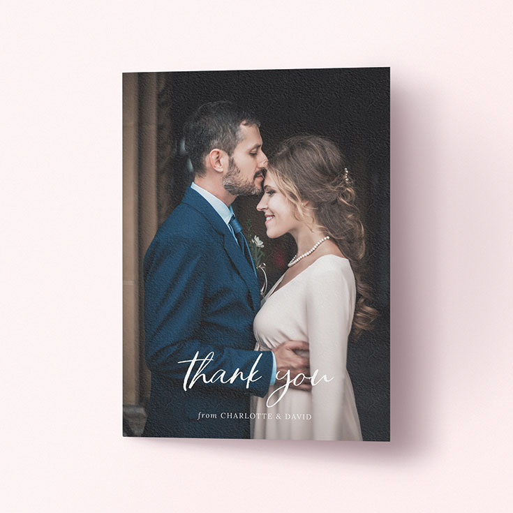"Personalised Wedding Thank You Card called ""Calligraphy Thanks"""
