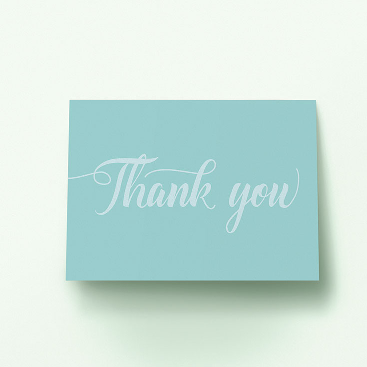 "Personalised Wedding Thank You Card called ""Pastel blue calligraphy"""