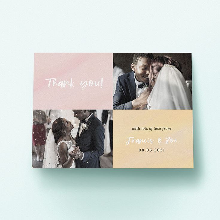 "Personalised Wedding Thank You Card called ""Pastel Watercolours"""