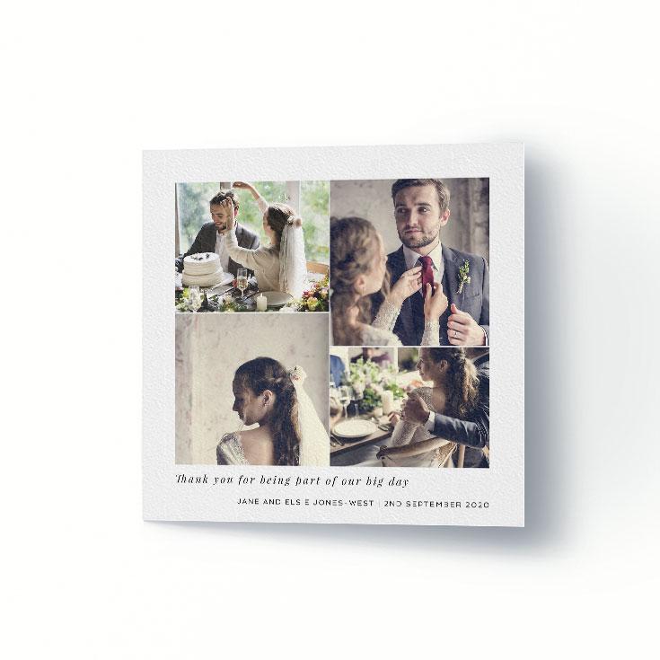 Wedding thank you card with multiple photos