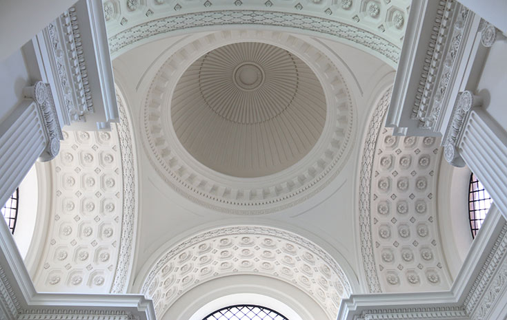 White dome in a cathedral