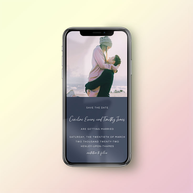WhatsApp Save the Date card for mobile