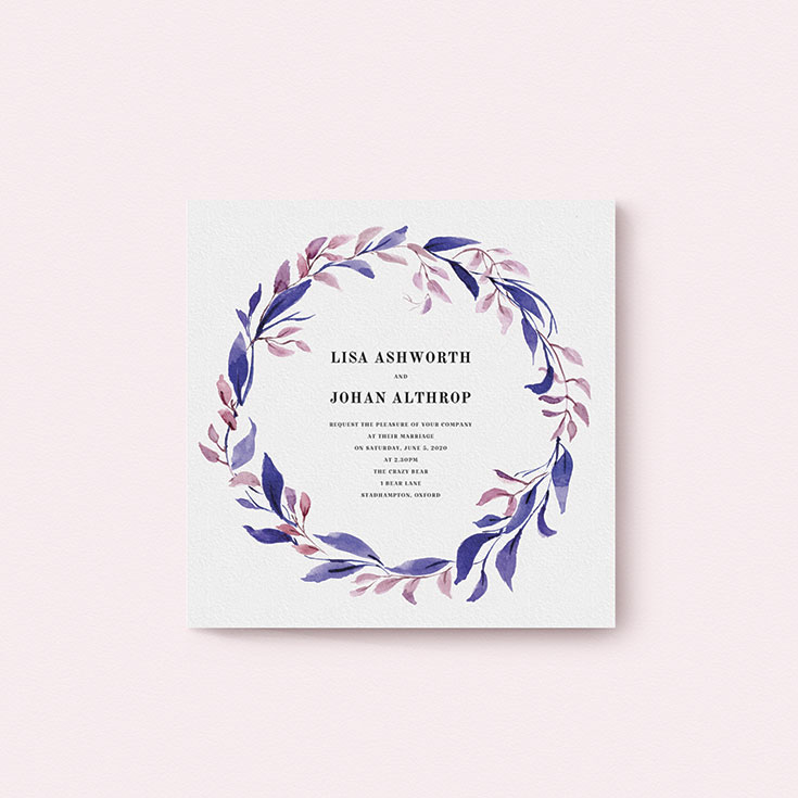 """Winter Wedding Invite called """"Hues of Blue"""""""