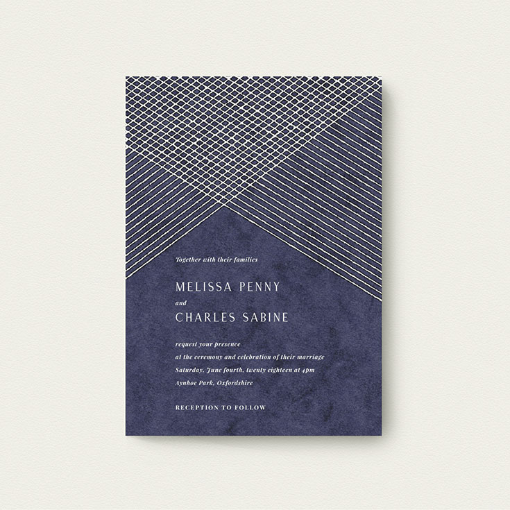 """Winter Wedding Invite called """"In the Navy"""""""