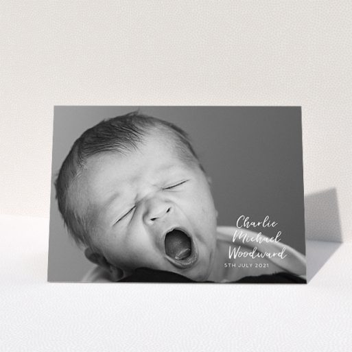 """A baby card design called """"1 Photo Full"""". It is an A5 card in a landscape orientation. It is a photographic baby card with room for 1 photo. """"1 Photo Full"""" is available as a folded card, with mainly white colouring."""