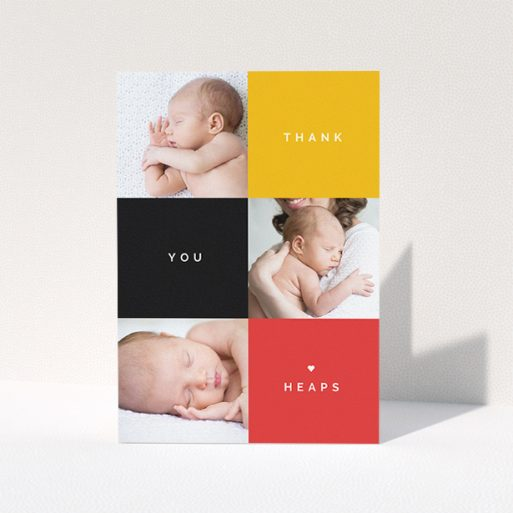 """A baby card design named """"Side-to-Side"""". It is an A5 card in a portrait orientation. It is a photographic baby card with room for 3 photos. """"Side-to-Side"""" is available as a folded card, with tones of black, red and yellow."""