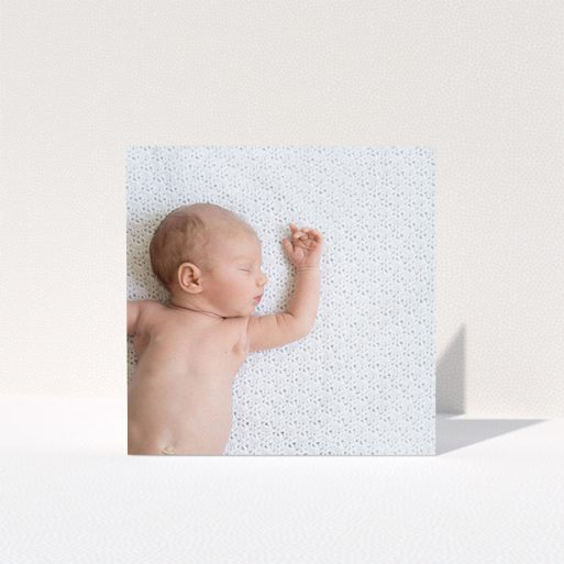 """A baby card template titled """"Thanks with Just a Square Photo"""". It is a square (148mm x 148mm) card in a square orientation. It is a photographic baby card with room for 1 photo. """"Thanks with Just a Square Photo"""" is available as a folded card."""