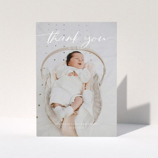 """A baby card design titled """"Topped and Bottomed"""". It is an A5 card in a portrait orientation. It is a photographic baby card with room for 1 photo. """"Topped and Bottomed"""" is available as a folded card, with mainly white colouring."""