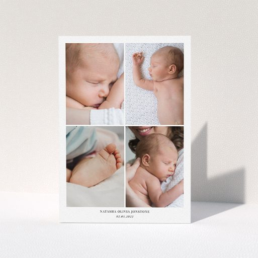 """A baby thank you card design named """"4 Photo Frame"""". It is an A5 card in a portrait orientation. It is a photographic baby thank you card with room for 4 photos. """"4 Photo Frame"""" is available as a folded card, with mainly white colouring."""